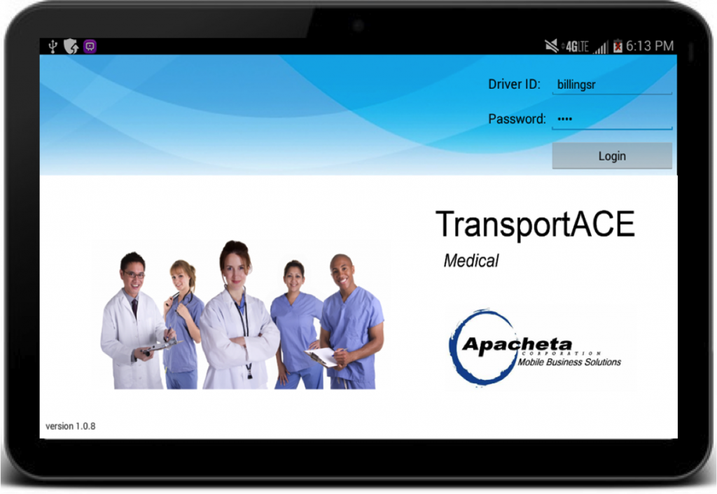 TransportACE for HME/DME Log in screen